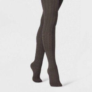 Women's Black Herringbone Semi-Metallic Tights